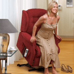 Lady adjusting her reclining chair