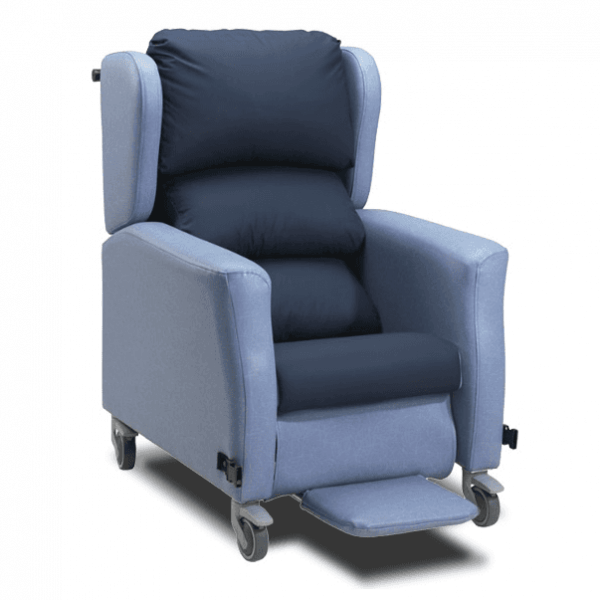 Blue chair with wheels